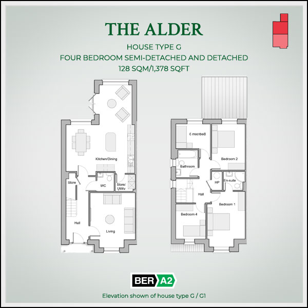 The Alder house type at Clonrath, ground and 1st floor plans
