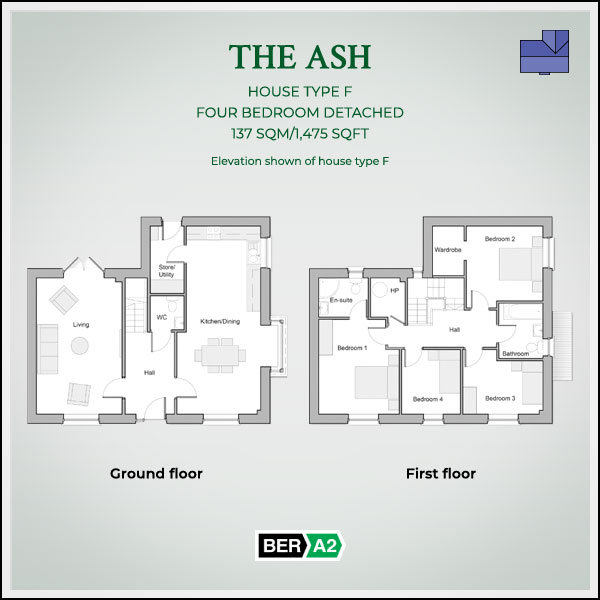 The Ash house type at Clonrath, ground and 1st floor plans