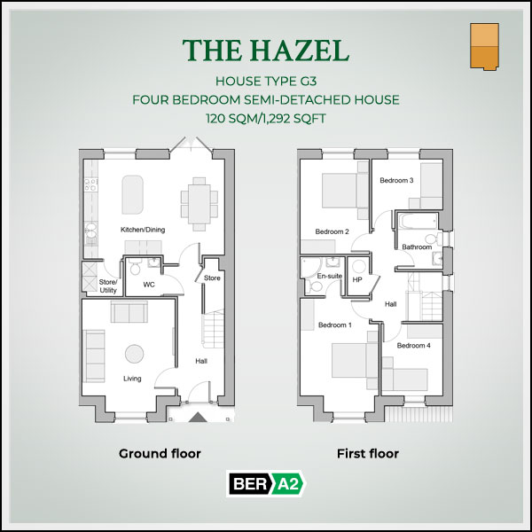 The Hazel house type at Clonrath, ground and 1st floor plans