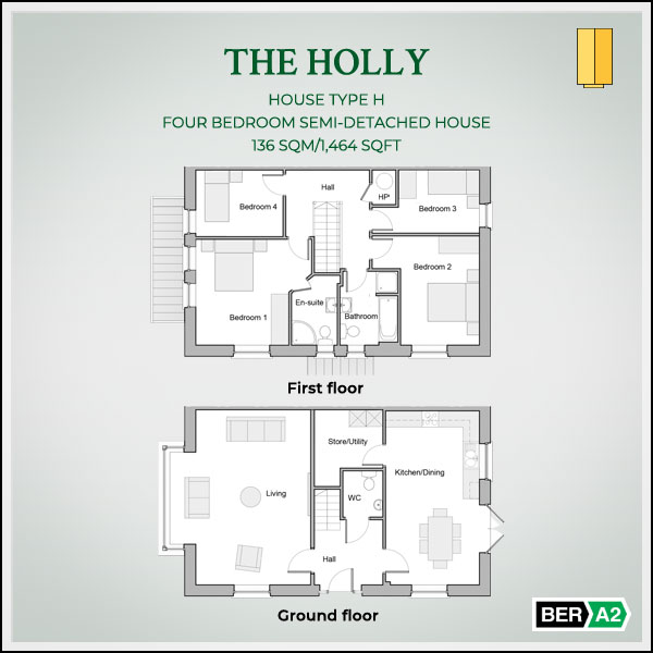 The Holly house type at Clonrath, ground and 1st floor plans